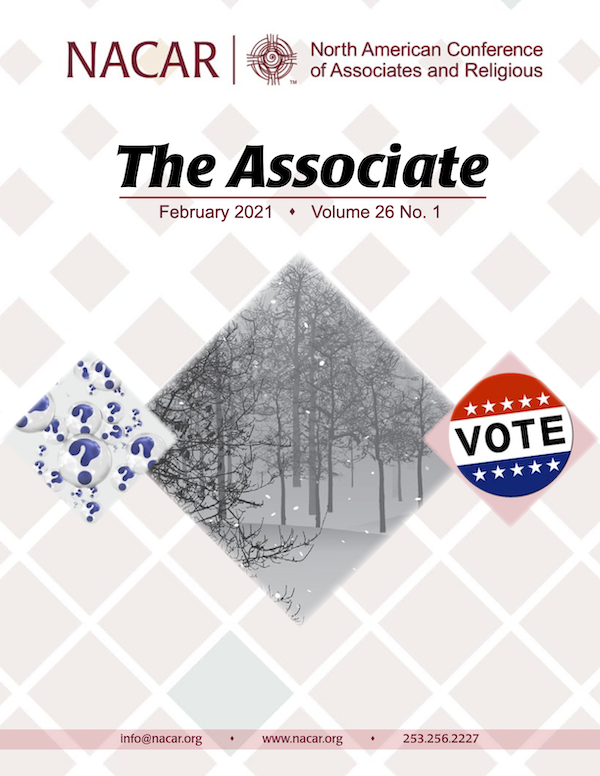 The Associate Volume 26 No. 1 Cover trees in winter, vote button and question marks